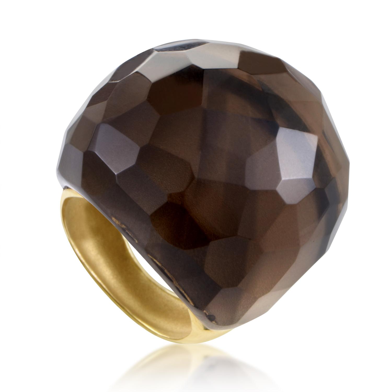 "Image of ""evaNueva 18K Yellow Gold Smoky Quartz Cocktail Ring"""