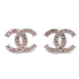 Chanel Silver Tone & Crystal CC Piercing Earrings