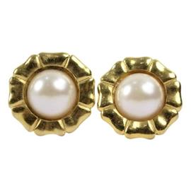 Chanel Gold-Tone Metal & Faux Pearl Clip-On Earrings
