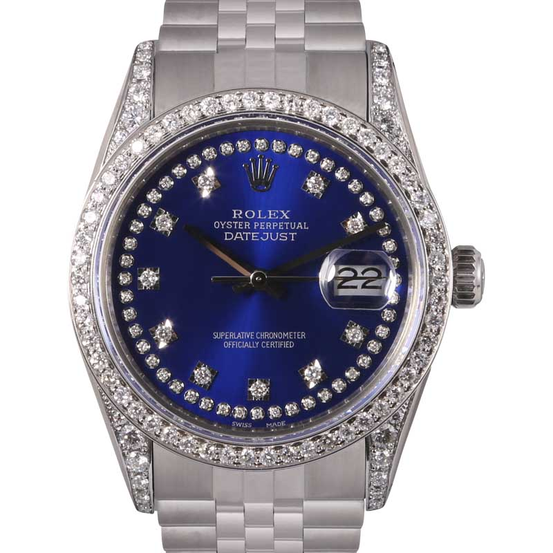 """Image of """"Rolex Datejust Stainless Steel Blue String Diamond Dial, Lugs & Bezel"""""""