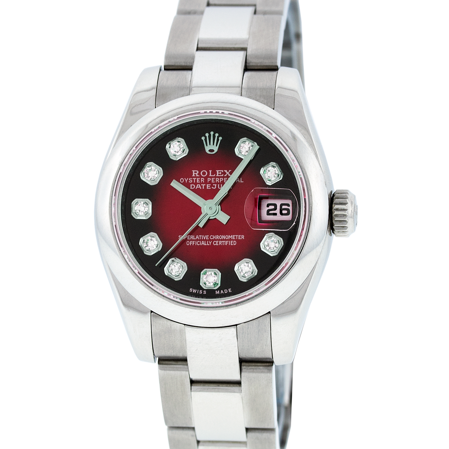 "Image of ""Rolex Datejust 179160 Stainless Steel Red Vignette Diamond 26mm Watch"""