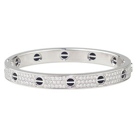 Cartier Love 18K White Gold Black Ceramic 2.18ct Diamond Bracelet Size 18