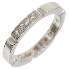 Cartier Mailon Panthere 18K White Gold 0.04 Ct Diamond Ring Size 4.5