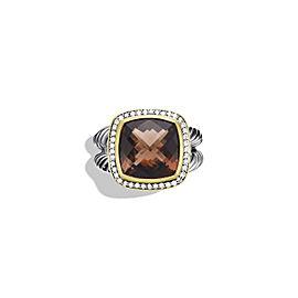 David Yurman Sterling Silver & 18K Yellow Gold 0.24ct Diamond & Quartz Albion Ring Sz 7