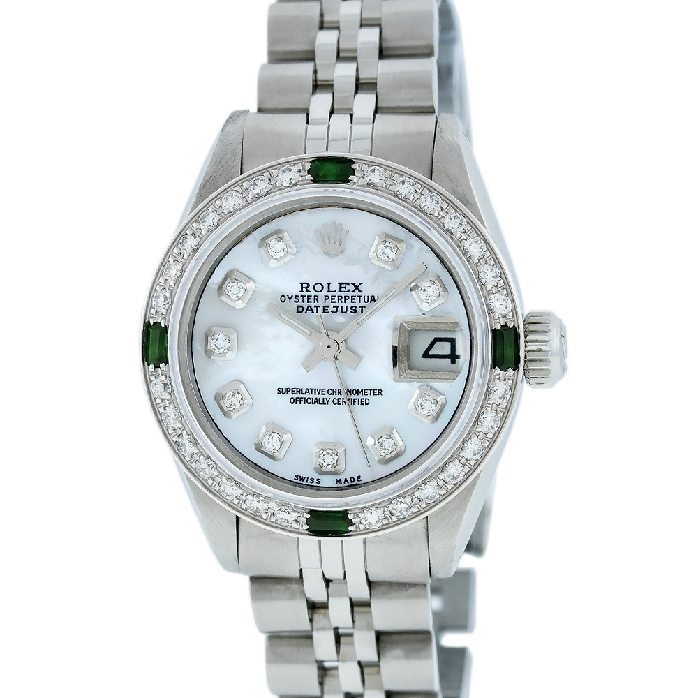 """Image of """"Rolex Ladies Datejust 6916 Stainless Steel & 18K White Gold Mother of"""""""