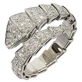 bulgari serpenti 18k white gold row diamond ring size 105