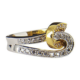 18K White & Yellow Gold and .41ct Diamond Interlock Ring Size 6