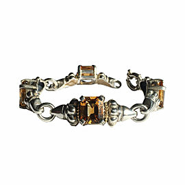 Lagos Caviar Sterling Silver & 18K Yellow Gold Citrine Bracelet