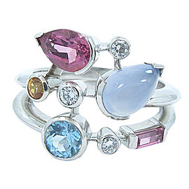 Cartier Meli Melo Platinum Multi Color Gemstones & Diamonds Ring Size 6.5