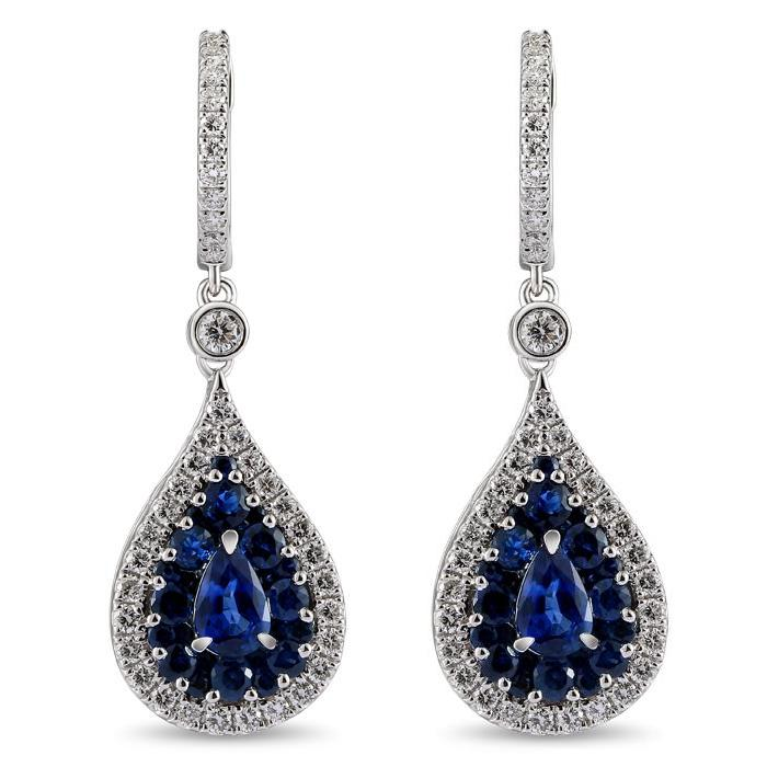 "Image of ""Greg Ruth 18K White Gold Sapphire and Diamond Dangle Earrings"""