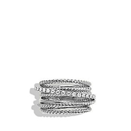 David Yurman Sterling Silver & 0.18ct Diamond Crossover Wide Ring Sz 7