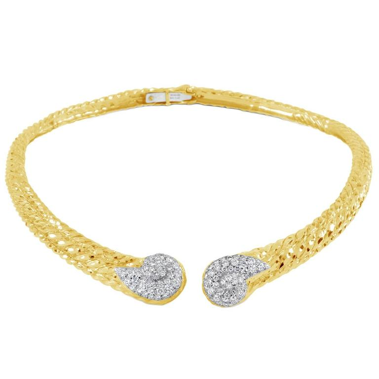 "Image of ""David Webb 18K Yellow Gold and Platinum 9.79 Ct Diamond Collar"""