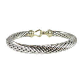 David Yurman 925 Sterling Silver 14K Yellow Gold Cable Buckle Bracelet