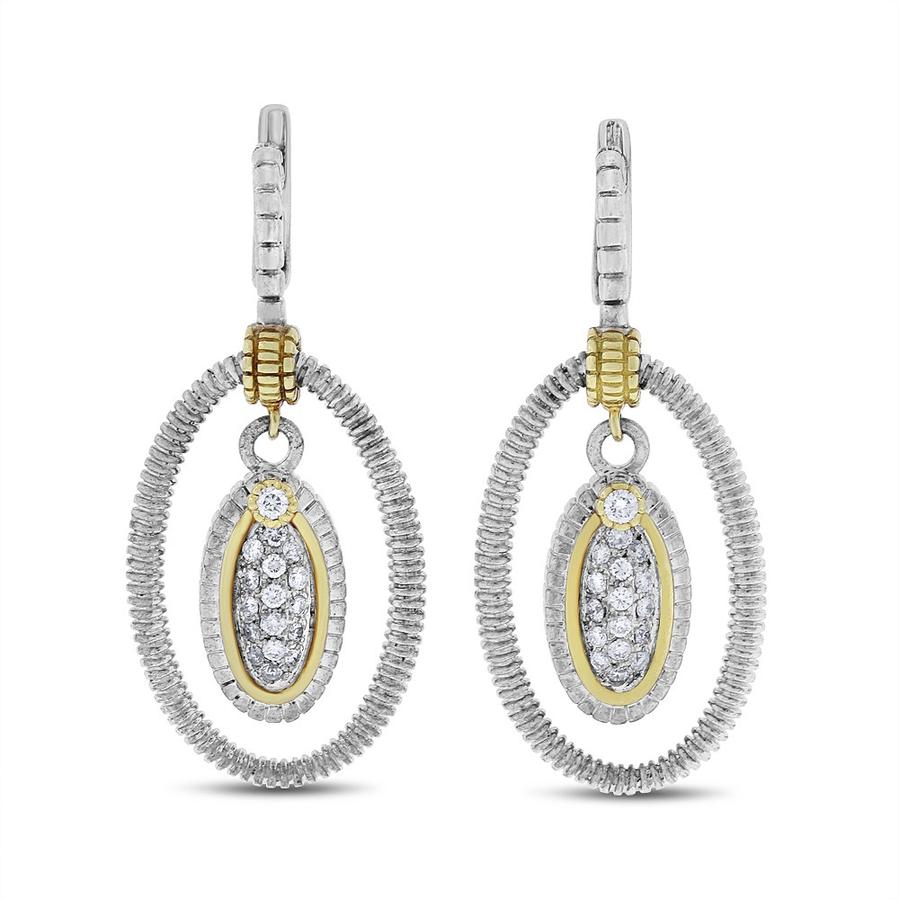 "Image of ""Judith Ripka 18k & Silver 0.65 CT Natural Diamond Oval Drop Earrings"""