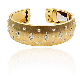 Buccellati 18K Yellow & White Gold Diamonds Cuff Bracelet