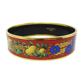 Hermes Gold Tone Metal & Cloisonne Bangle Bracelet
