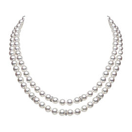 Mikimoto 18K White Gold 0.85ct. Diamonds and Akoya Pearl Double Strand Necklace Set