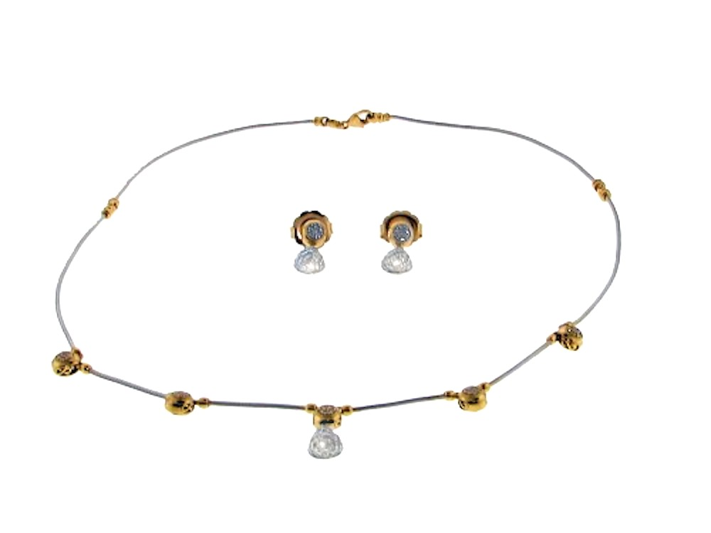 "Image of ""Charriol 18K Yellow Gold 2/3 Ct Diamond Cable Necklace and Earring Set"""