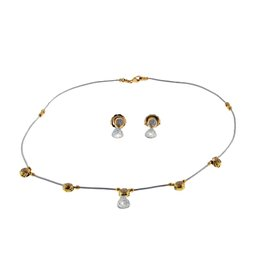 Charriol 18K Yellow Gold 2/3 Ct Diamond Cable Necklace and Earring Set