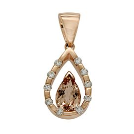 14K Rose Gold 1.25ct Morganite 0.50ct Diamond Teardrop Pendant
