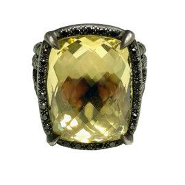 David Yurman Sterling Silver Citrine and Diamond Ring Size 7