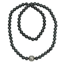 Tiffany & Co. Silver Tone Hardware and Hematite Beaded Necklace
