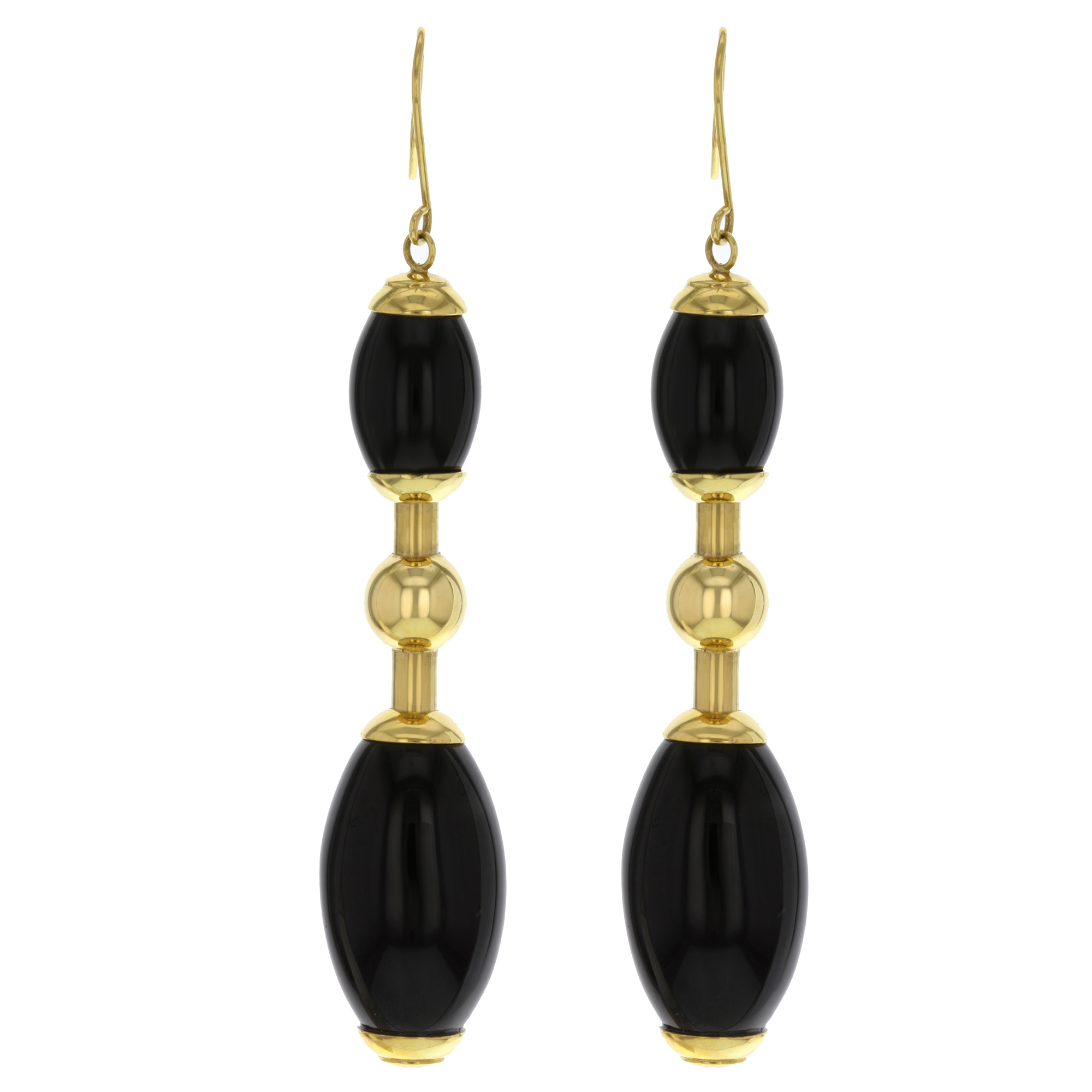 "Image of ""Faraone Mennella Tuca Tuca 18K Yellow Gold & Black Onyx Earrings"""