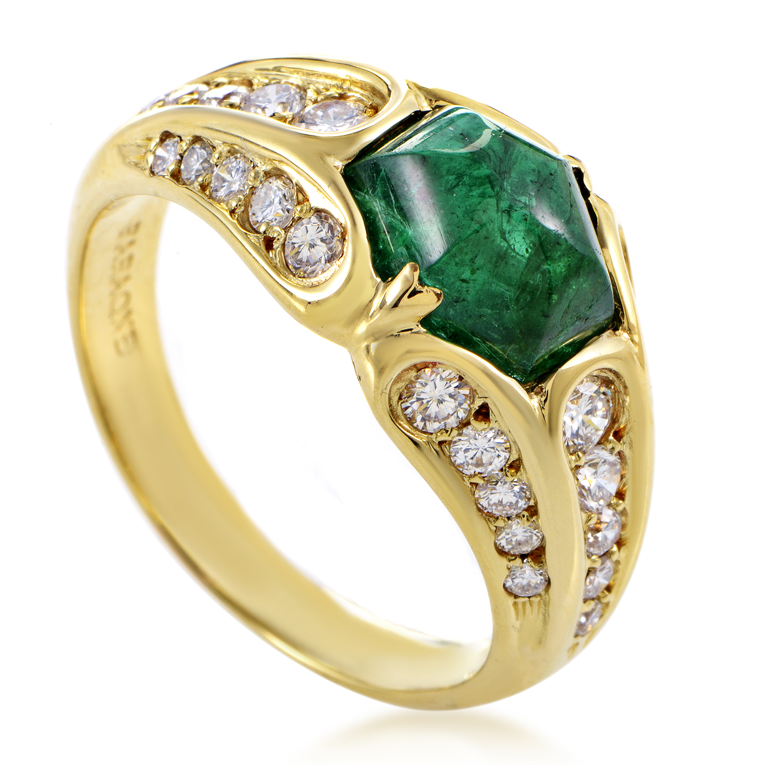 "Image of ""Faraone Mennella 18K Yellow Gold 0.70ct Diamond & 2ct Emerald Ring Sz"""