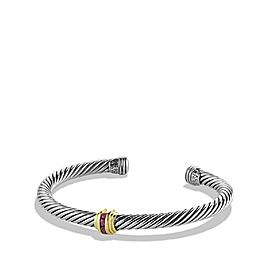 David Yurman Sterling Silver and 14K Yellow Gold Cable Classics Single-Station Ruby Bracelet