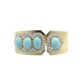 David Webb 18K Yellow Gold and Platinum with Turquoise and 4.15ct. Diamond Cuff Bracelet