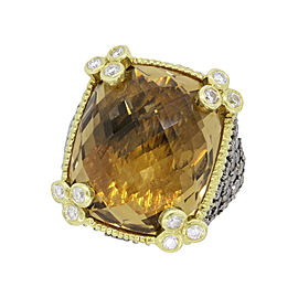 Judith Ripka 18K Yellow Gold Champagne Quartz & 2.05ct Diamond Ring Size 6
