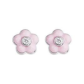 Aaron Basha 18k White Gold 0.028 Diamond Flower Earrings