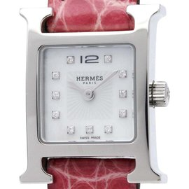 Hermes H Watch HH1.110 Stainless Steel And Leather Quartz 17mm Womens Watch