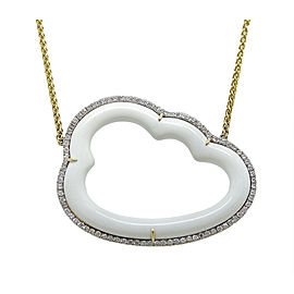 Pamela Huizenga 18K Yellow Gold Silver Lining White Cocholong and 0.82ct Diamond Necklace
