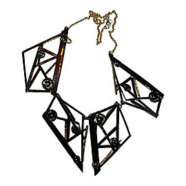 Alexis Bittar 18K Yellow Gold & Black Rhodium Plated Metal Abstract Bib Necklace