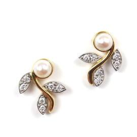Tiffany & Co. Garland 18K Yellow Gold & Platinum Pearl & Diamond Stud Earrings