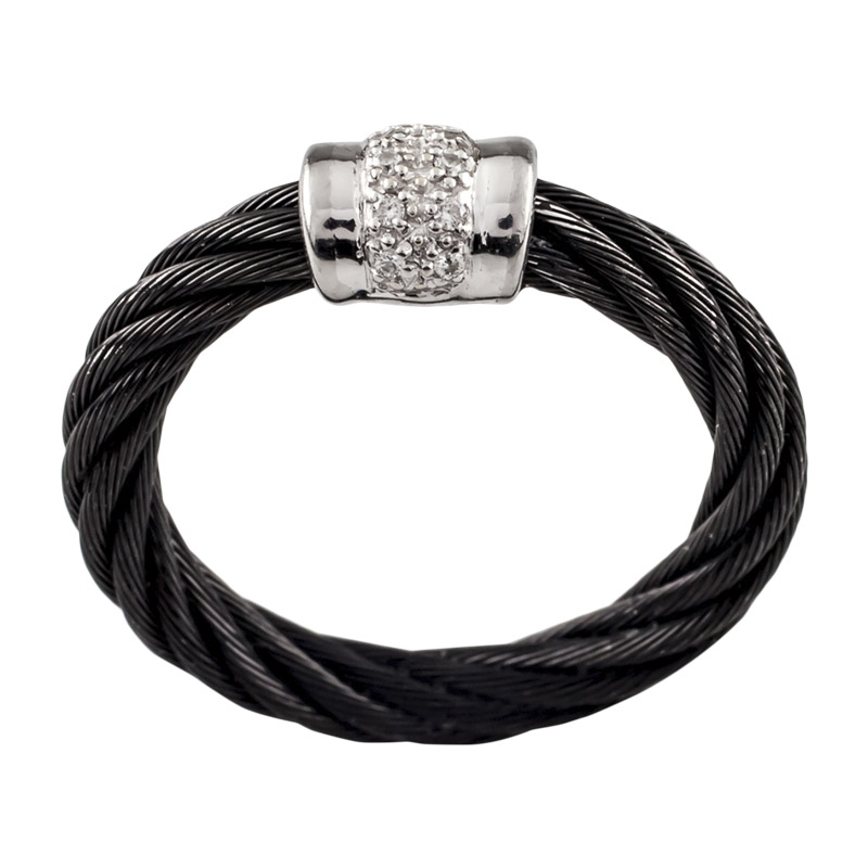 "Image of ""Charriol 18K White Gold and Black Steel Cable with Diamond Black Cable"""