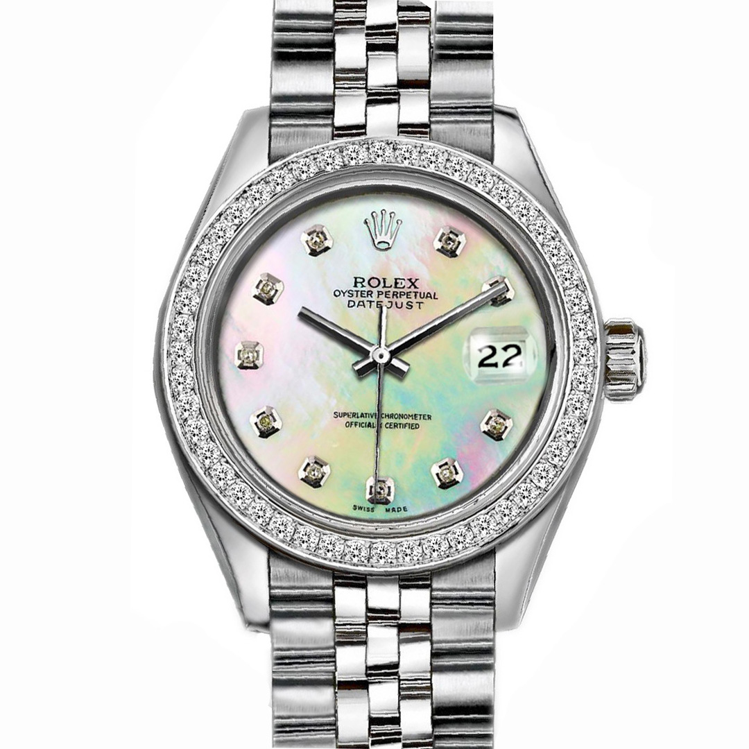 "Image of ""Rolex Datejust Stainless Steel with Custom Bezel and MOP Dial 36mm"""