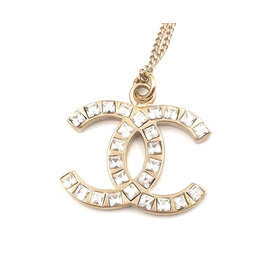 Chanel CC Gold Tone Metal & Crystal Pendant Necklace