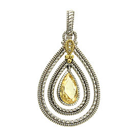 Judith Ripka 925 Sterling Silver & 18K Yellow Gold Diamond & Quartz Pendant