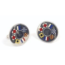 Tiffany & Co. Sterling Silver & Enamel Nautical Flag Cufflinks