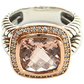 David Yurman 18K Rose Gold Albion Morganite and Diamond Ring Size 6.75