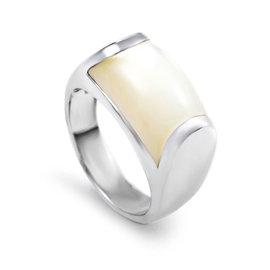 Bulgari 18K White Gold Moonstone Ring Size 4.25