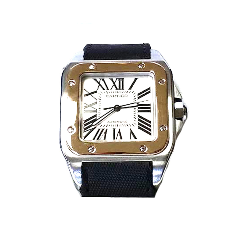 "Image of ""Cartier Santos 100 Yellow Gold and Stainless Steel Men's Watch"""