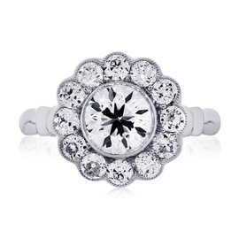Platinum Diamond Flower Engagement Ring Size 6.5