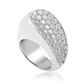 Fred of Paris 18K White Gold Partial Diamond Pave Ring