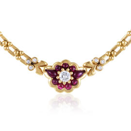 Fred of Paris 18K Yellow Gold Diamond and Ruby Necklace
