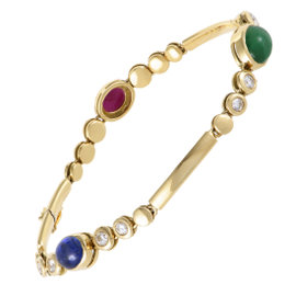 Fred of Paris 18K Yellow Gold Diamond Emerald Ruby and Sapphire Bracelet