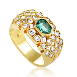 Fred of Paris 18K Yellow Gold Diamond & Emerald Band Ring