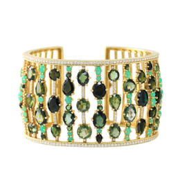 Judith Ripka Mix Shape Stone Cuff with Green Tourmaline 38.31cts and Chrysoprase 6.31cts.